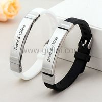 Gullei.com Engraved Matching Couples Bracelets Set