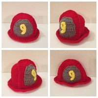 Fire fighter crochet beanie-Preemie to Child size