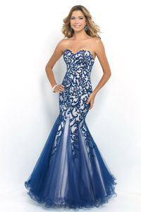 Long Indigo And Nude Strapless Beaded Mermaid Prom Gown