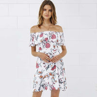 White Floral Print Off the Shoulder Ruffle Chiffon 2017 Summer Dress