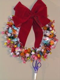 Homemade Christmas Gift #95: Christmas Candy Wreath Do you have loads of clearance candy in your pantry? If so you can make this fun Christmas candy wreath! Isn