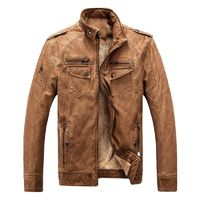 High quality new winter fashion warm men's coat jackets leather Overcoat R625.20