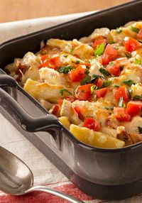 "Monterey Chicken Pasta Bake �€"" Cheesy with shredded Monterey Jack and hearty with chicken, bacon and rigatoni, this family-pleasing pasta bake is ready for the oven in just 20 minutes."