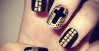 #Leopard Cross Studded #Nails