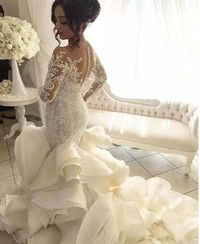 Luxury Big Ball Gown Wedding Dresses with Ruffles,long sleeve bridal gowns �'�19000.00