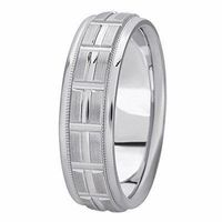 14K White Gold 6 millimeters wide Wedding anniversary Band gift for him $591.00