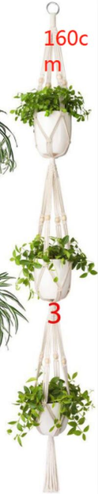 Macrame Triple Plant Hanger with Bead Detail $19.95