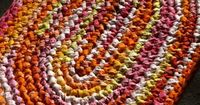 "Bright Tangerine, Yellow, Orange & Pink! Rag Rug Kit - SAME DAY SHIP ON THIS ITEM! Finished Sizes: Approx. 24 x 34"" Oval & 24 x 34"" Rectangular, OR 30"" Round"