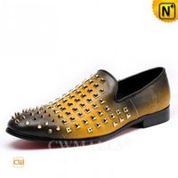 Haute Couture | Men Spiked Leather Formal Slippers CW719107 | CWMALLS.COM