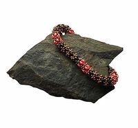 Superduo Black and Red Spiral Beaded Bracelet $32.99