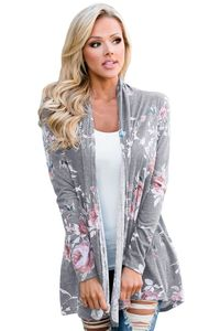 Grey Floral Print Lightweight Cardigan Coat $4.56