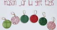 Use mod podge and scrapbook paper to create these Mason Jar Lid Gift Tags. Would be cute as ornaments too.