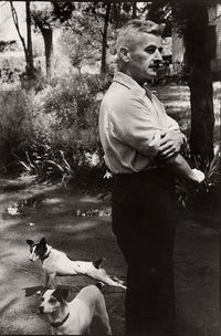 E.L. Doctorow and Becky - William Faulkner and his Jack Russell terriers, photo by Henri Cartier-Bresson, from Flavorwire via Draw Paint Print
