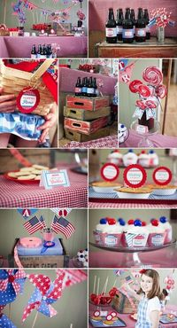 """This patriotic JULY 4TH SEERSUCKER THEMED PICNIC PARTY was submitted by Suzanne of Fanciful Events. I love the idea of a July 4th party with the theme of """"Ameri"""