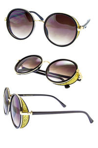 Round frame with GLITTER covered side shield. http://elsunglasses.com