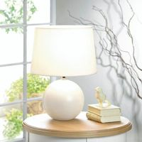 White Round Base Table Lamp by Decorshop $39.95