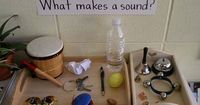 This science center display helps children explore sound with common objects. I collected �€œfound�€ items to display on the tray with a sign, �€œWhat makes a sound?