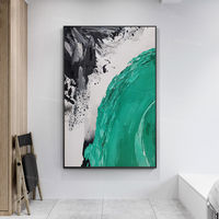 Framed wall art acrylic waterfall Paintings on canvas Original art Extra large black grey and teal green wall art heavy texture painting $123.75