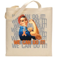 "Stand strong with Rosie The Riveter's We Can Do It motto on Leukemia shirts, apparel, tees and gifts featuring an ultra-cool design with a collage text of ""We Can Do It"" set in distressed style with an awareness ribbon"