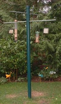 "Chris made this. He used 2"" pvc pipe instead. I painted it a light green. So far so good! He also made a wooden one with copper pipe...but squirrels can master it. So we hang squirrel proof feeders from that one. Fun!"