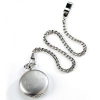 """An elegant gift for groomsmen, the father of the bride or any man who appreciates the classic look of a pocket watch. The engraved cover makes it an especially thoughtful gift. Each silver pocket watch with Quartz Movement measures 1 1/2"""" in diameter..."""