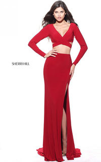 2017 Red 50920 B Neck Fitted Senior Prom Gown
