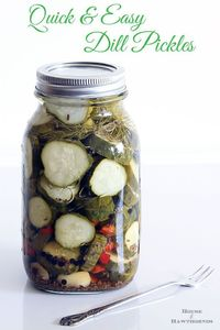 "How to make quick and EASY Refrigerator Pickles. No ""real"" canning skills required, if you can boil water you can make these."