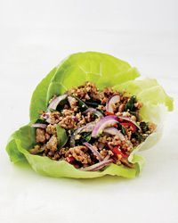 Pork Larb Lettuce Wrap Recipe: At Plum Alley in Salt Lake City, chef Ryan Lowder makes what he calls �€œAmerican Asian food,�€ which includes delicious versions of his favorite Thai dishes. He especially loves this northern Thai pork sala...