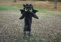 I made this costume for my son because he wanted to be Toothless from the Pixar movie How to Train Your Dragon. I started with a plain black sweat suit fro