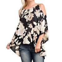 Plus Size Women Clothing Off Shoulder Floral Print Blouses 3/4 Flare Sleeves Asymmetrical Casual Sexy Shirts Blusas 5XL Top 2017 $9.89