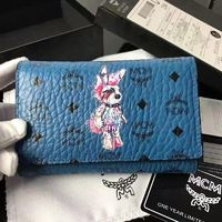 MCM Rabbit Visetos Trifold Leather Short Wallet In Blue