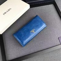 Prada 1M1132 Lettering Leather Wallet In Blue