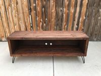 Honey colored media console entertainment by OceanBeachPalletCo