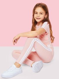 Girls Stripe Side Ribbed Knit Hoodie and Pants Set $37.00