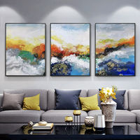 Framed painting 3 pieces Wall art Modern Abstract moutains Gold blue paintings on canvas extra Large set of 3 wall art Cuadros abstractos $163.53