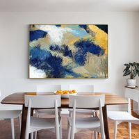 Framed wall art paintings on canvas original art navy blue mustard yellow texture painting wall pictures large painting $123.75