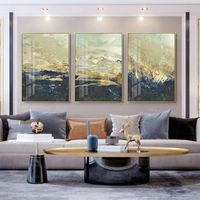 Gold art Framed painting Navy blue sea wave set of 3 Wall Art acrylic abstract mountain painting on canvas original art 3 pieces of wall art $163.53