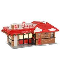 "Department 56: Products - ""Chick-fil-A®"" - View Lighted Buildings - it's retiring already this year. Can't believe it's exactly like the original Dwarf House from my childhood down to the little door!"