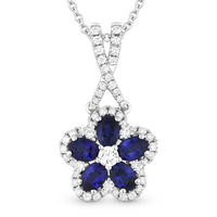 1.42ct Oval Cut Sapphire & Round Diamond Pave Flower Pendant in 18k White Gold w/ 14k Chain Necklace