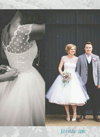 Polka dot tulle tea length white vintage wedding dress