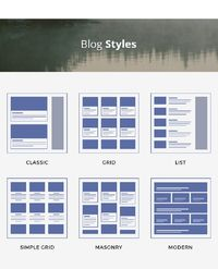 Blog styles can either be chosen from the archive or built using shortcodes