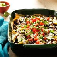 "Enchilada ""lasagna""- i would add veggies like sweet potatoes, zuchinni, broccoli or cauliflower and resice the amount of cheese in the recioe to make this dish more healthful. Serve with a side salad and fruit for dessert and bam, there's a ..."