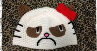 HELL NO KITTY Awesome Hand Crochet Hat Grumpy by PoisonAppleTacoma, $40.00