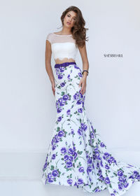 Sherri Hill 50421 Printed Two Piece Mermaid Gown For Sale