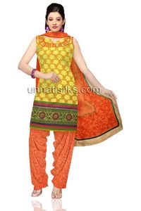 Unstitched party bright yellow and orange Chanderi sico salwar kameez