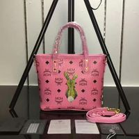 MCM Mini Rabbit Visetos Shoulder Tote In Pink