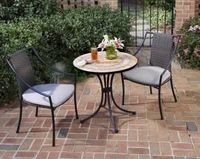 3PC Bistro Set Includes Outdoor Dining Table & Two Laguna Arm Chairs.  The Bistro Table features a table top constructed of small, square and triangular, terra cotta and gray sandstone tiles in a ringed pattern.  The cabriole designed base is constr...