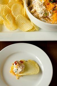 Loaded Baked Potato Dip. Really does taste like a loaded baked potato! It's a really chunky dip, ended up being easier to serve on crackers like a cheese ball. Besides crumbling the bacon and cutting up chives, another super easy recipe to fix. Great ...