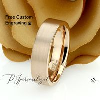 Rose Gold Tungsten Wedding Band Men, Custom Engraving 6mm Pipe Cut Tungsten Ring Men, Tungsten Carbide Mens Promise Ring, Couple Gift $73.00