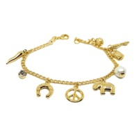 "(1-0952-h7) Gold Filled Charm Bracelet, 7-1/2"". $14.99"